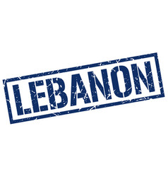 Lebanon blue square stamp vector