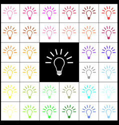 light lamp sign felt-pen 33 colorful vector image vector image
