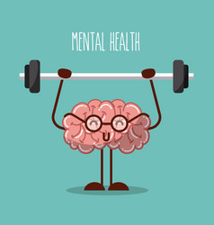 Mental health brain lifting weights image vector
