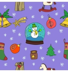 New Year Christmas seamless pattern set vector image vector image