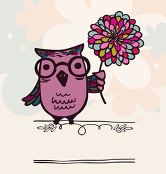 Owl on holiday background vector image vector image
