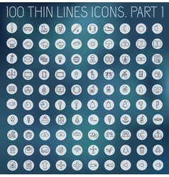 Part 1 of collection thin lines pictogram icon vector