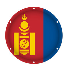 round metallic flag of mongolia with screw holes vector image