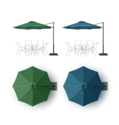 Set of Blue Green Patio Outdoor Beach Umbrella vector image