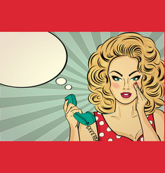 Sexy pop art woman talking on a retro phone vector