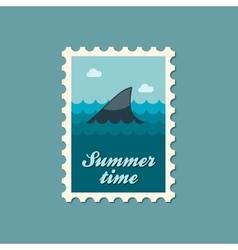 Shark fin flat stamp summertime vector