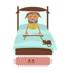sick little girl vector image