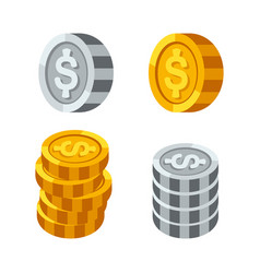 Stacks of gold money coins income profits cash vector
