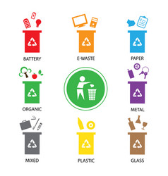 Trash categories recycle garbage bin vector