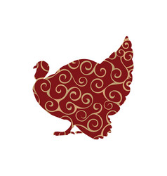 Turkey bird color silhouette animal vector