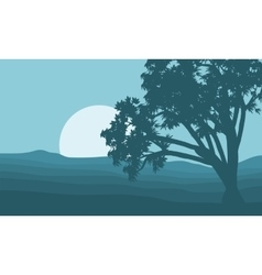 Silhouette of single tree and moon vector