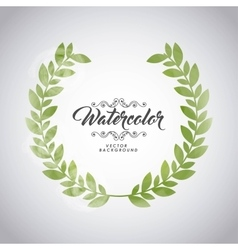 Green leaves icon watercolor design vector