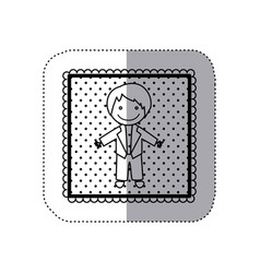 Monochrome sticker in square frame and dotted with vector