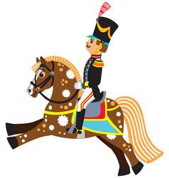 Cartoon soldier riding a horse vector