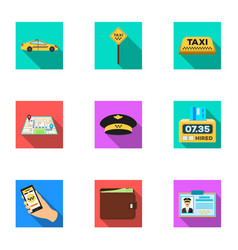 Set of icons about the taxi a call taxi driver vector
