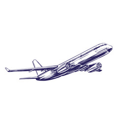 Airliner aircraft hand drawn vector