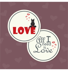 Valentine card with dog on word love vector
