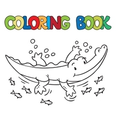 Coloring book of little alligator or crocodile vector
