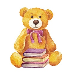 Teddy bear sitting with books watercolor Stock vector image