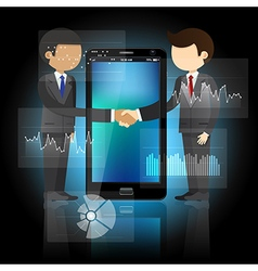 Two businessmen shaking hands and smart phone vector