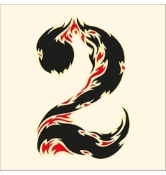 Fiery font number 2 on white vector