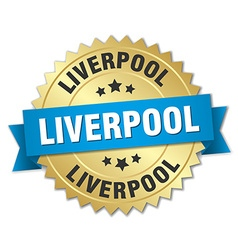 Liverpool round golden badge with blue ribbon vector
