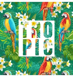 Tropical flowers and parrot bird exotic background vector
