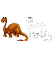 Animal outline for long neck dinosaur vector