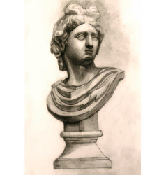 Antique antinous plaster bust academic drawing vector