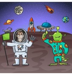 Astronaut and alien vector
