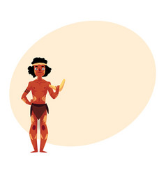 Australian aborigine in loincloth and war paint vector