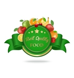Best quality food label badge with fruits vector image
