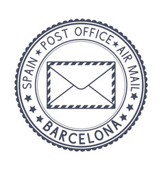black stamp with barcelona spain and envelope vector image vector image