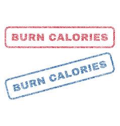 Burn calories textile stamps vector