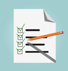 check list pencil and green check marks vector image