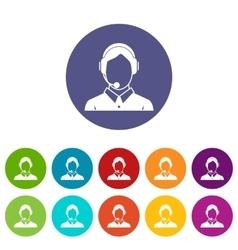 Client services phone assistance set icons vector