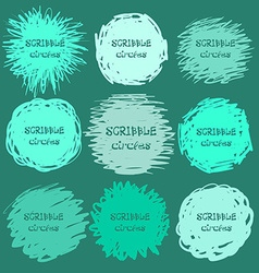 Collection of green hand-drawn scribble circles vector image