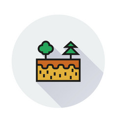cut earth icon on round background vector image
