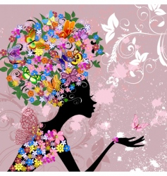 flower lady with butterflies vector image vector image