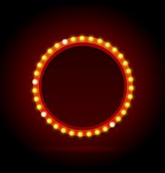 light bulbs vintage neon glow circle frame vector image
