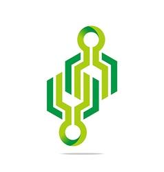 Logo abstract arrow symbol hexa connecting icon el vector