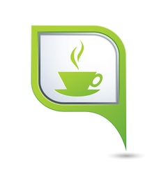 Map pointer with hot coffee cup icon vector image vector image