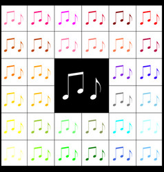 Music notes sign felt-pen 33 colorful vector