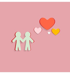 Paper Cut People and Hearts on Pink Background vector image vector image
