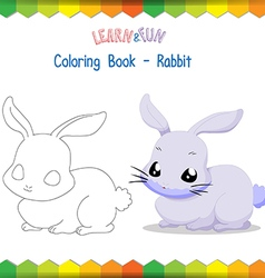 Rabbit coloring book educational game vector image vector image