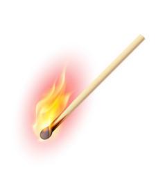 realistic burning match on white background vector image