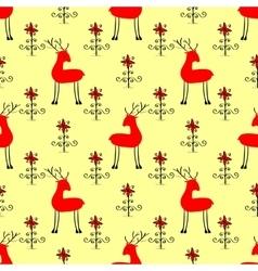 Red christmas deer among flowers vector