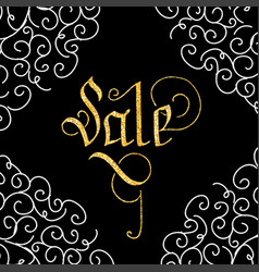 sale of glitter golden hand lettering vector image vector image