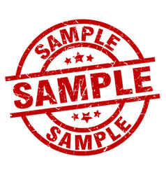 Sample round red grunge stamp vector