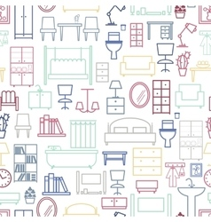 Seamless furniture pattern vector image